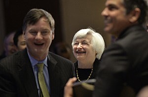 Federal Reserve Chair Janet Yellen smiles as she is introduced as the keynote speaker at the 2014 National Interagency Community Reinvestment Conference on  in Chicago, Illinois.