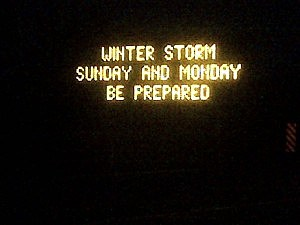A message board on Interstate 195 warns of the coming snowstorm