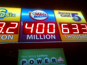 Mega Millions jackpot is displayed at the Jackson Deli in Jackson