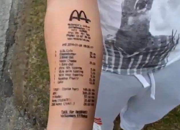 Man Gets McDonald's Receipt Tattoo