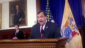 Gov. Christie at the podium during a press conference at the Statehouse on March 28