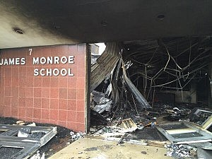 Fire damage at the James Monroe School in Edison