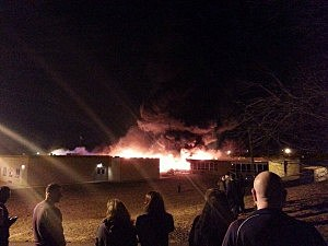 A fire burns at the James Monroe Elementary School in Edison
