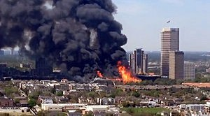 Fire burns at an under-contrruction apartment complex in Houston