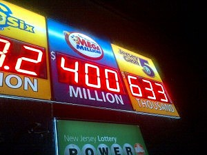 Mega Million jackpot displayed at Jackson Deli in Jackson