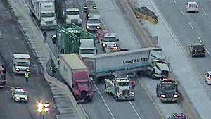 Jackknifed tractor trailer on the New Jersey Turnpke near #8