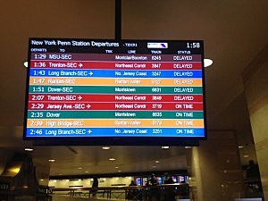 NJ Transit delays displayed at New York Penn Station