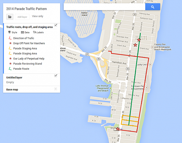 Map of recommedned routes in and out of Seaside Heights for St. Patrick's Day Parade