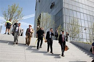 Federal Courthouse employees evacuate as police investigate a shooting inside the Federal Courthouse in Salt Lake City
