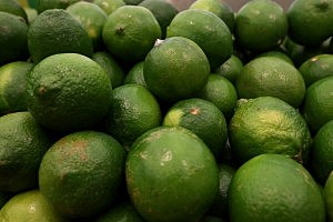 Limes are displayed at a California grocery store