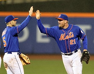 David Wright  celebrates the Mets first win of the season with Lucas Duda