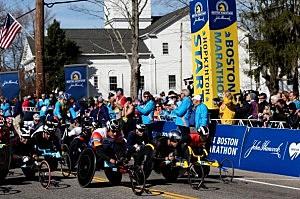 Members of the Push Rim Wheelchair division start the 118th Boston Marathon