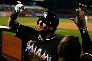 Jarrod Saltalamacchia #39 of the Miami Marlins celebrates after hitting a go ahead home run in the tenth inning against the New York Mets