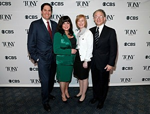 (L-R) Chairman of the Broadway League Nick Scandalios, Executive Director of the Broadway League Charlotte St. Martin, Executive Director of the American Theatre Wing Heather Hitchens and Chairman of the American Theatre Wing William Ivey Long attend the 2014 Tony Awards Nominations Ceremony