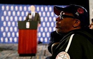 Spike Lee attends the press conference as NBA Commissioner Adam Silver discusses punishment for Los Angeles Clippers owner Donald Sterling