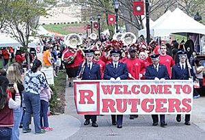 A band welcomes attendees to Rutgers Day
