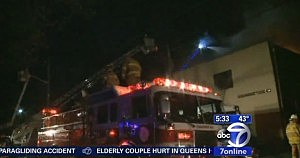 Firefighters respond to a fire at the Carlstadt post office