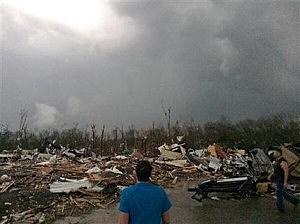 Tornado damage in Mayflower, Ark.