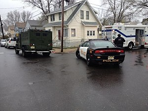 Police at a Freehold Borough home following a shooting