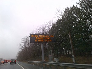 An electronic sign on I-95 in Bucks County, Pennsylvania warns of the Pulaski Skyway, an example of how surrounding states are working to inform drivers of the project