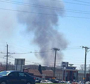 Smoke from Raritan Center brush fire as seen from the Garden State Parkway near Route 1