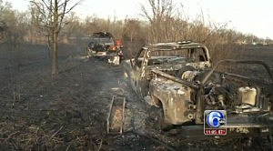 Two fire vehicles burned by fire in Salem County brush fire