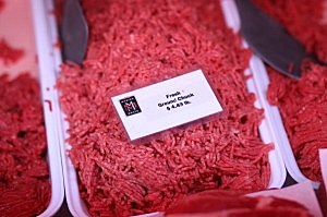 Fresh ground beef is displayed