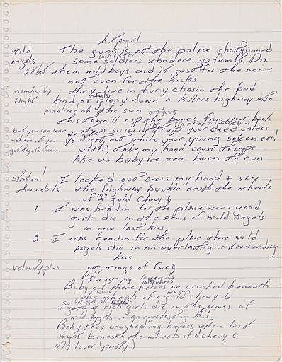 An autographed manuscript signed by Bruce Springsteen
