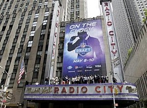 Sign at Radio City Music Hall promoting the NFL Draft