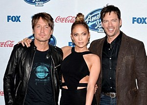 "(L-R) ""American Idol"" judges musician Keith Urban, actress/singer Jennifer Lopez and musician Harry Connick Jr."