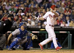 Third baseman Cody Asche #25 of the Philadelphia Phillies hits a grand slam in the bottom of the sixth inning