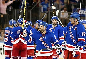 Martin St. Louis #26 of the New York Rangers celebrates 3 to 1 win over the Pittsburgh Penguin