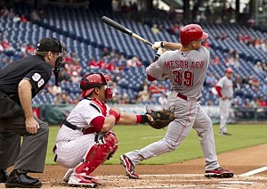 Catcher Devin Mesoraco #39 of the Cincinnati Reds hits a three run home run