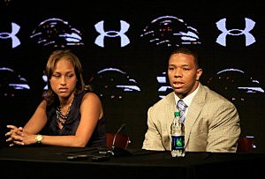 Ray Rice of the Baltimore Ravens addresses a news conference with his wife Janay at the Ravens training center