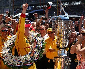 Ryan Hunter-Reay driver of the #28 DHL Andretti Autosport Honda Dallara celebrates winning the 98th running of the Indianapolis 500 Mile Race
