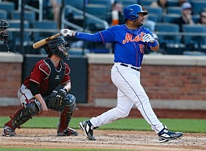 Bobby Abreu #53 of the New York Mets hits a fifth-inning RBI double against the Arizona Diamondback