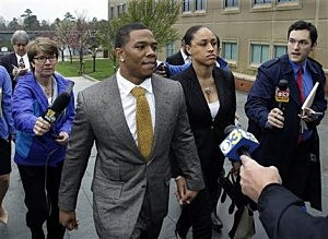 Baltimore Ravens football player and former Rutgers University standout, Ray Rice holds hands with his wife Janay Palmer as they arrive at Atlantic County Criminal Courthouse in Mays Landing,