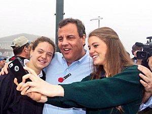 Gov. Christie poses for a selfie with students from St. Rose High School in Belmar