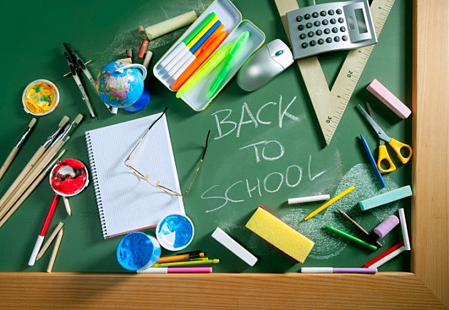 Back to school written blackboard green board