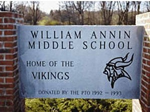 Sign at the William Annin Middle School in Bernards
