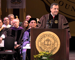Gov. Chris Christie addresses graduates at Rowan University