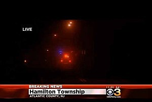 Scene of plane crash in Hamilton near Atlantic City Int. Airport