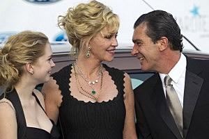 (L-R) Stella del Carmen, actress Melanie Griffith and Antonio Banderas