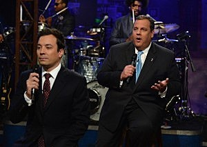 """Jimmy Fallon and New Jersey Governor Chris Christie during a taping of """"Late Night With Jimmy Fallon"""" at Rockefeller Center"""