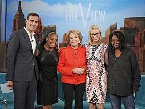 "(L-R) Bill Rancic, Sherri Shepherd, Barbara Walters, Jenny McCarthy, and Whoopi Goldberg, on ""The View"""