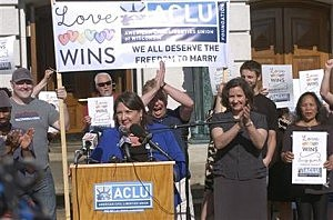 Kristin Wagner, development director of Wisconsin's ACLU, speaks  in Madison, Wisconsin