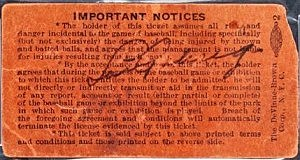 This is an undated photo provided by Heritage Auctions of a Yankee Stadium ticket stub signed by Lou Gehrig on July 4, 1939, the day he retired from baseball.