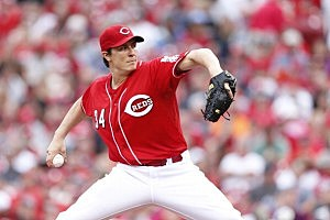 Homer Bailey #34 of the Cincinnati Reds