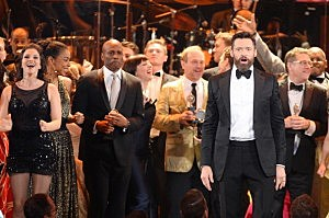 Host Hugh Jackman onstage during the 68th Annual Tony Awards at Radio City Music Hall