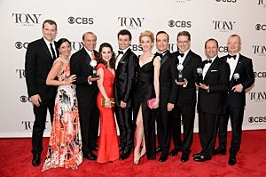 "Lauren Worsham, Bryce Pinkham, Robert L. Freedman, Jefferson Mays  Darko Tresnjak and cast of ""A Gentleman's Guide To Love And Murder"" pose in the press room during the 68th Annual Tony Awards"
